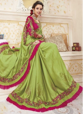 Chanderi Silk Mint Green and Rose Pink Embroidered Work Traditional Designer Saree
