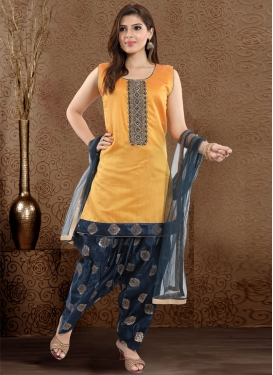 Chanderi Silk Mustard and Navy Blue Beads Work Readymade Salwar Suit