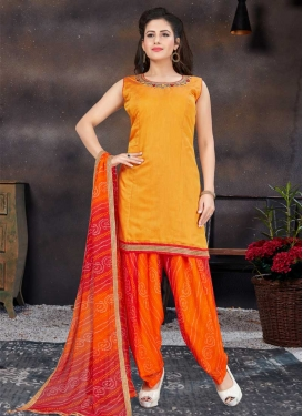 Chanderi Silk Mustard and Orange Readymade Salwar Kameez