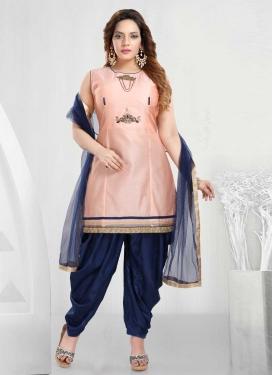Chanderi Silk Navy Blue and Salmon Readymade Designer Suit