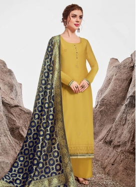 Chanderi Silk Palazzo Style Pakistani Salwar Kameez