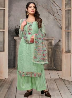 Chanderi Silk Palazzo Style Pakistani Salwar Kameez For Ceremonial