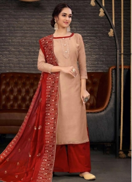 Chanderi Silk Palazzo Style Pakistani Salwar Kameez For Ceremonial