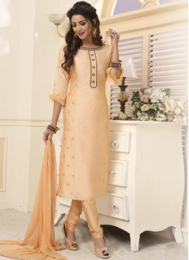 Chanderi Silk Readymade Churidar Salwar Kameez For Party