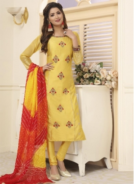Chanderi Silk Readymade Churidar Salwar Suit