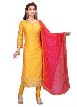Chanderi Silk Readymade Churidar Suit For Ceremonial