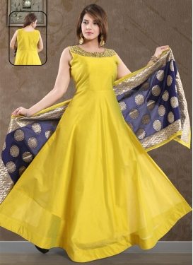 Chanderi Silk Readymade Floor Length Gown
