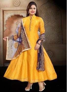 Chanderi Silk Readymade Floor Length Gown For Ceremonial