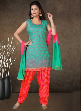 Chanderi Silk Rose Pink and Sea Green Embroidered Work Readymade Salwar Suit