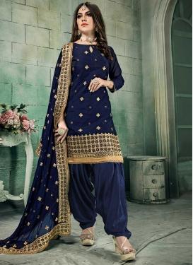 Chanderi Silk Semi Patiala Salwar Suit For Festival