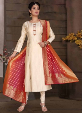 Chanderi Silk Stone Work Readymade Churidar Salwar Suit