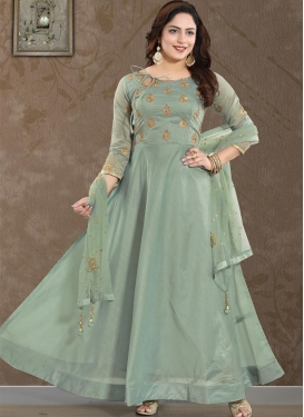 Chanderi Silk Stone Work Readymade Floor Length Gown