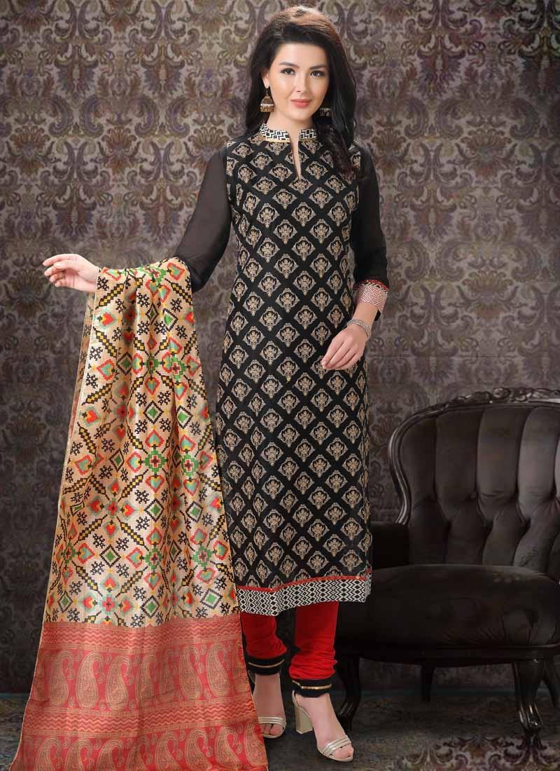 Chanderi Silk Trendy Churidar Salwar Kameez