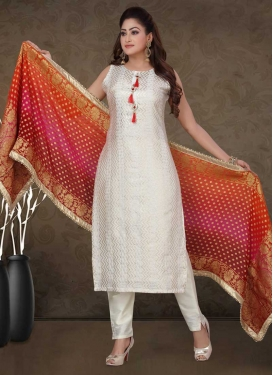 Chanderi Silk Woven Work Readymade Salwar Kameez