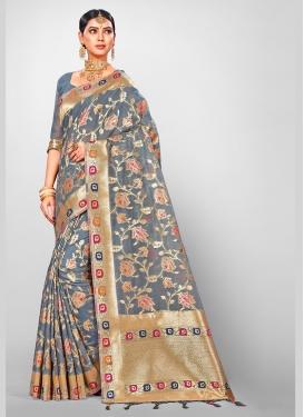 Charismatic Jacquard Silk Weaving Grey Traditional Designer Saree