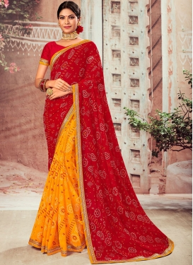 Charming Faux Chiffon Red and Yellow Designer Half N Half Saree