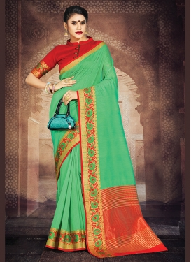 Charming Sea Green Art Silk Casual Saree