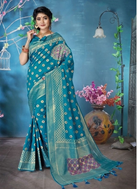 Charming Woven Light Blue Banarasi Silk Silk Saree