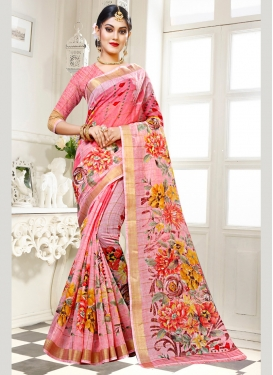 Chic Abstract Print Cotton Silk Traditional Saree