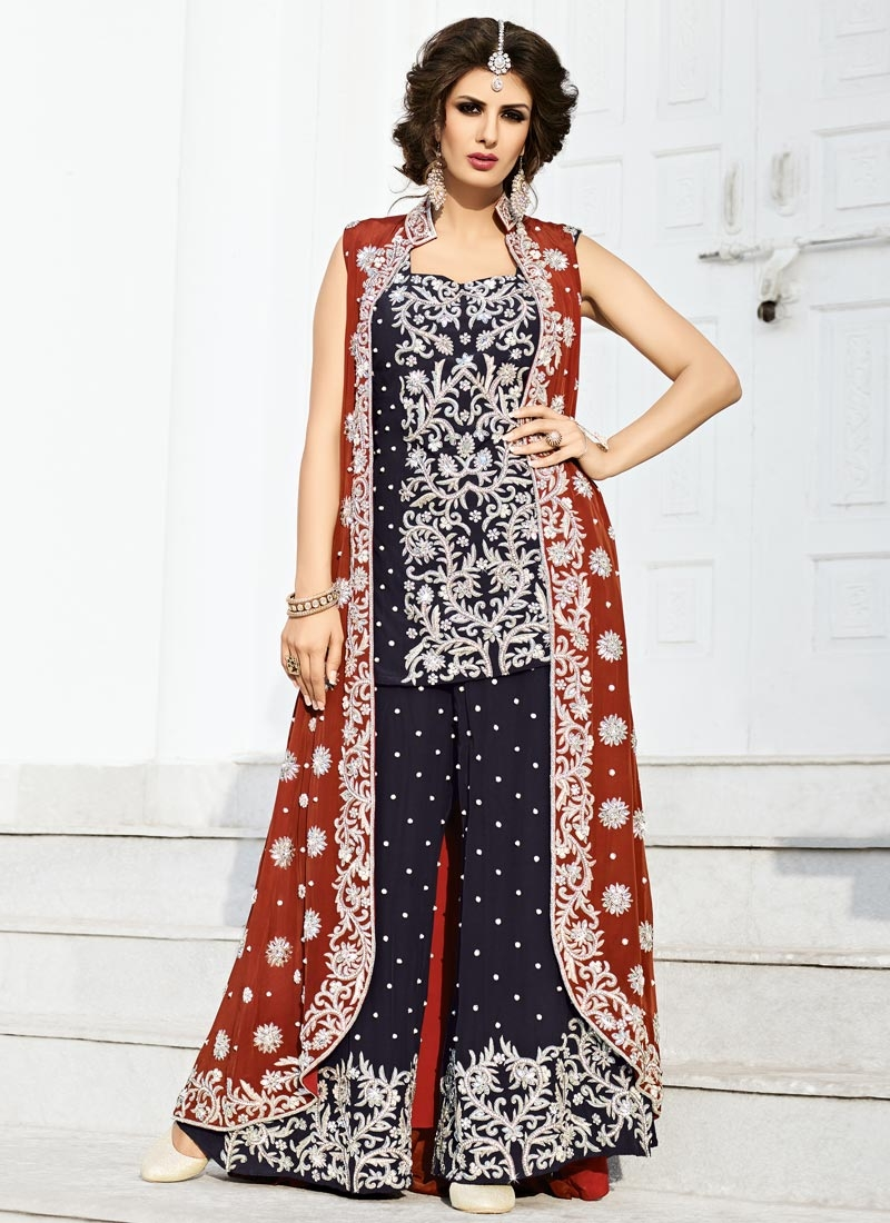 Chic Beads Work Navy Blue and Red Palazzo Designer Salwar Kameez For Festival