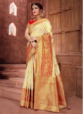 Chic Cream Weaving Art Silk Designer Traditional Saree