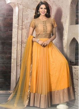 Chic Lace Work Net And Silk Readymade Wedding Salwar Suit