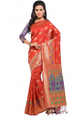 Chic Red Weaving Art Silk Traditional Saree