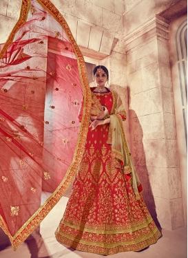 Chic Silk Embroidered Red Designer Lehenga Choli