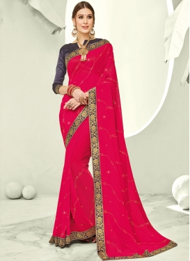 Chic Stone Rose Pink Trendy Saree