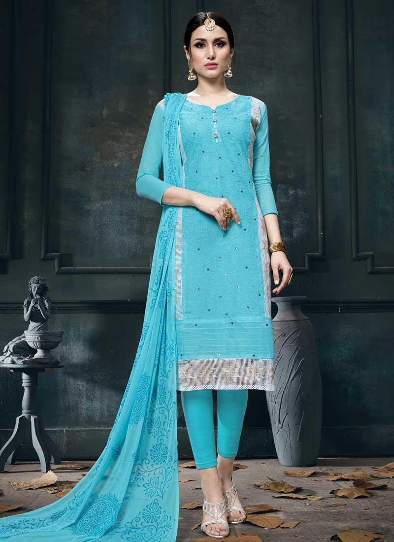 Chicken Work Cotton Churidar Salwar Suit
