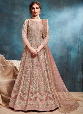 Chicken Work Long Length Designer Anarkali Suit