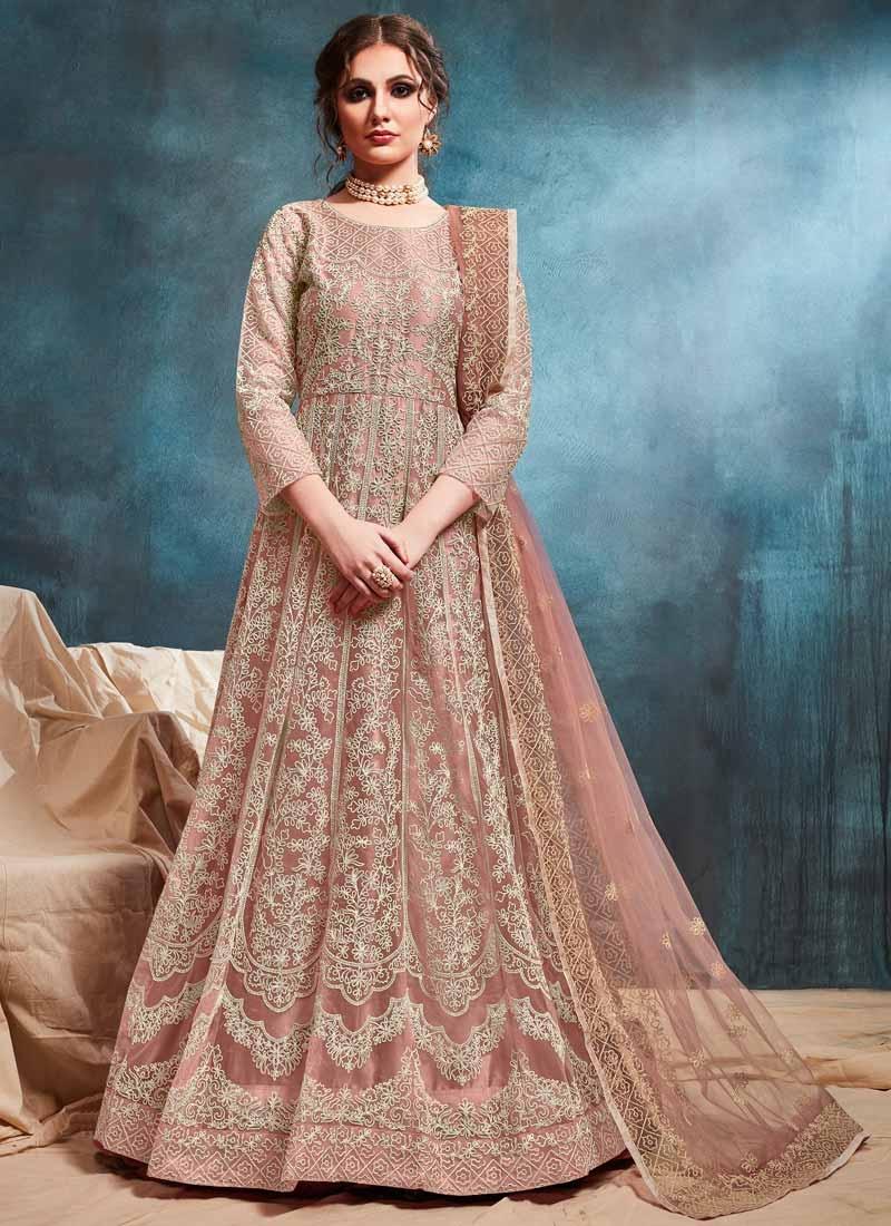 Chicken Work Long Length Designer Anarkali Suit