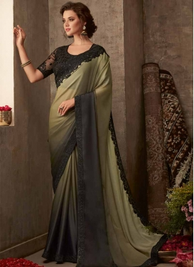 Chiffon Satin Black and Olive Embroidered Work Contemporary Style Saree