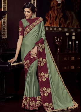 Chiffon Satin Crimson and Sea Green Embroidered Work Trendy Classic Saree