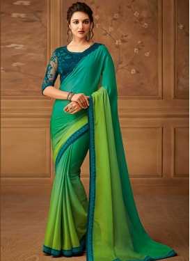 Chiffon Satin Designer Contemporary Saree For Ceremonial