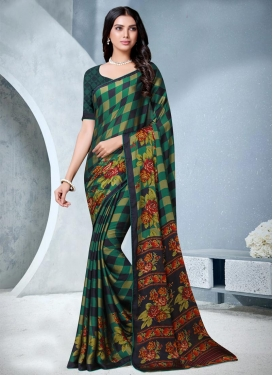 Chiffon Satin Designer Contemporary Style Saree For Casual