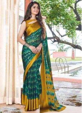 Chiffon Satin Digital Print Work Green and Mustard Traditional Designer Saree