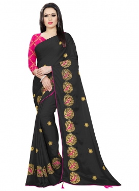 Chiffon Satin Embroidered Work Designer Contemporary Saree