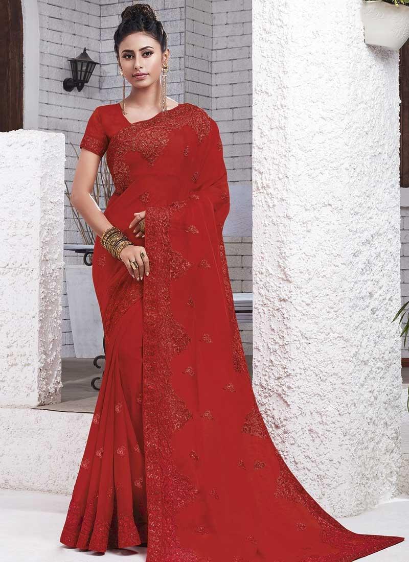 Chiffon Satin Embroidered Work Designer Contemporary Style Saree