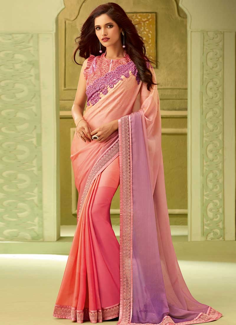 Chiffon Satin Embroidered Work Traditional Designer Saree