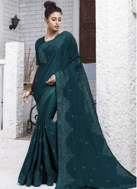 Chiffon Satin Embroidered Work Trendy Classic Saree
