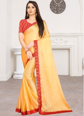 Chiffon Satin Gold and Red Trendy Classic Saree For Casual