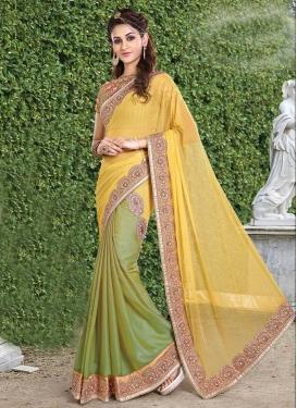 Chiffon Satin Half N Half Designer Saree