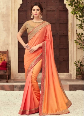 Chiffon Satin Orange and Salmon Trendy Designer Saree For Ceremonial
