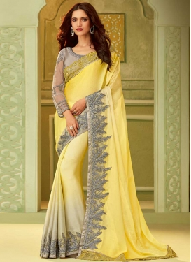 Chiffon Satin Silver Color and Yellow Classic Saree For Festival