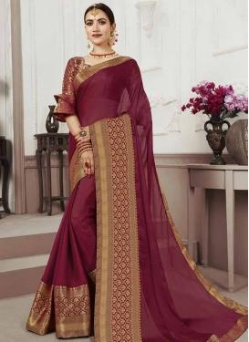 Chiffon Satin Thread Work Classic Saree