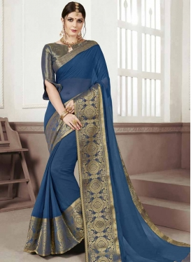 Chiffon Satin Thread Work Traditional Designer Saree
