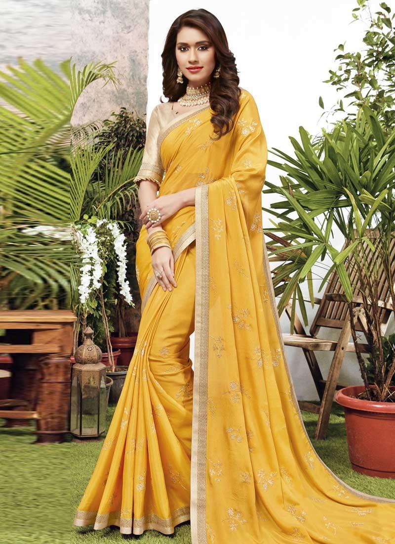 Chiffon Satin Trendy Classic Saree For Ceremonial