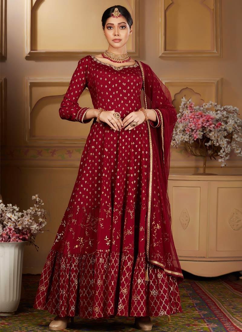 Chinon Cutdana Work Readymade Anarkali Salwar Suit