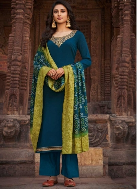 Chinon Embroidered Work Palazzo Style Pakistani Salwar Kameez
